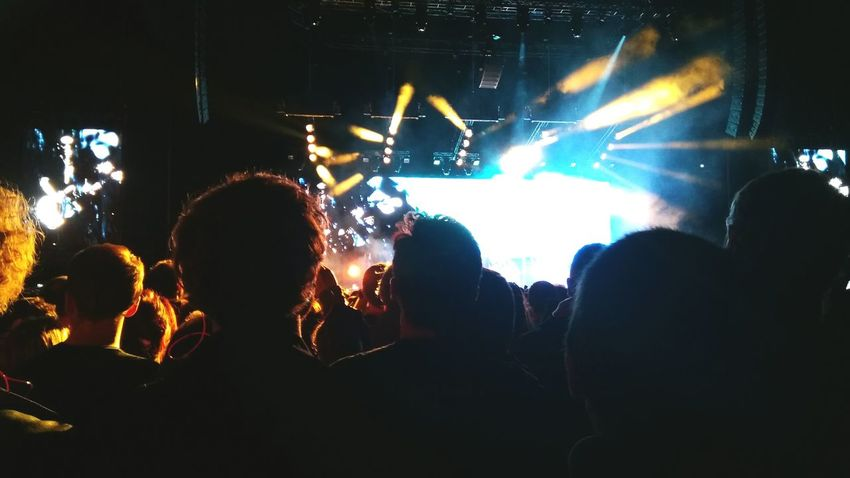 Music Audience Arts Culture And Entertainment Crowd Nightlife Performance Popular Music Concert Large Group Of People Stage - Performance Space Fan - Enthusiast Event Rock Music Illuminated Stage Light Men Adults Only Mobilephoto Sillhouette Placebo20 Accord Hotel Arena Paris, France