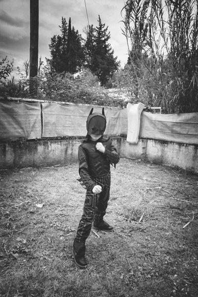 Blackandwhite Childhood Child Roleplay Batman Dressed Up Mask