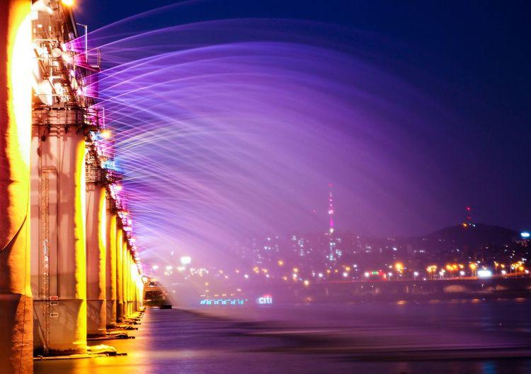 Moonlight Rainbow Fountain On Banpo Bridge Over Han River At Night