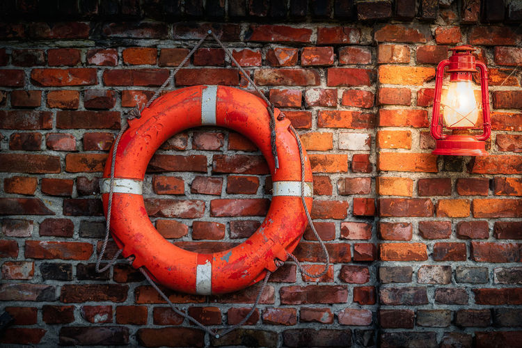 Close-up of red brick wall