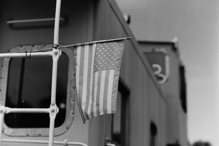 Flag Blackandwhite Railroad Black & White American Flag Mamiya 645 Mamiya Flags In The Wind  Train Car Caboose