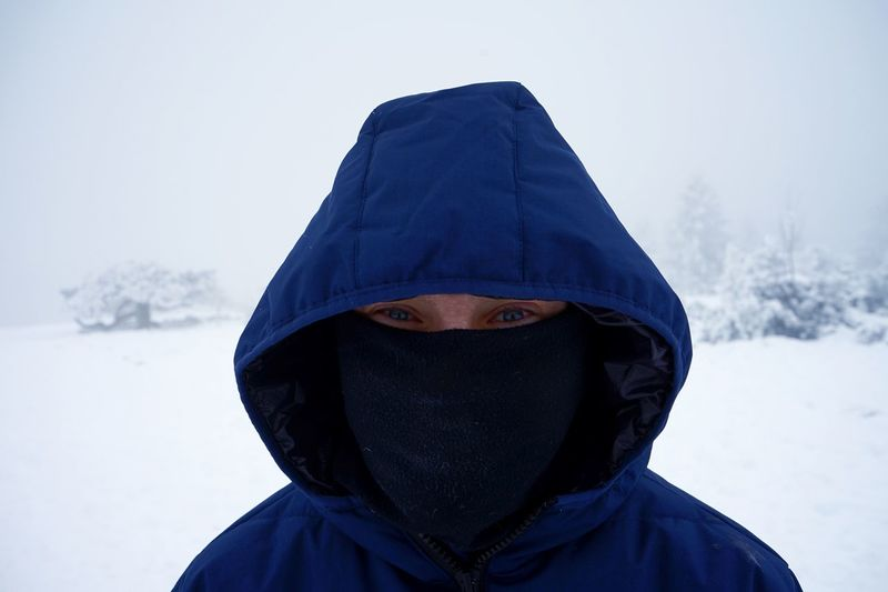 Portrait of man covered with snow