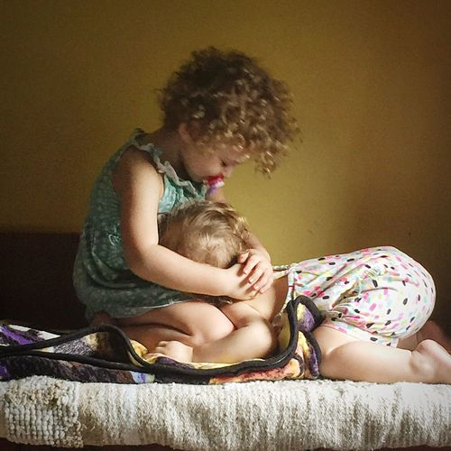 Sisters Love Together Forever Children Sweet Cute Childhood Females Tender Friendship Indoors  Full Length People Toddlers  Curly Hair Beautiful Happiness Babies Peace The Week On EyeEm The Portraitist - 2018 EyeEm Awards