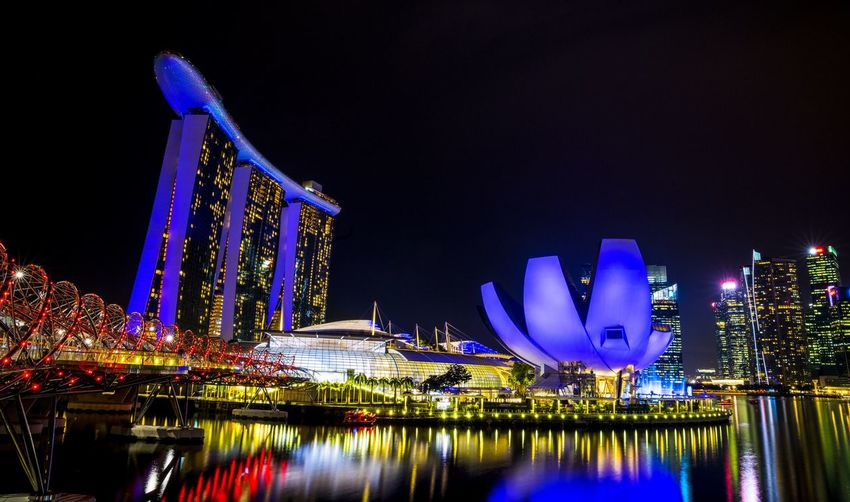 Marina Bay Sands Singapore EyeEmNewHere Night Illuminated Building Exterior Architecture Built Structure City Reflection Sky Water Nature Lighting Equipment No People Decoration Travel Destinations Travel Building Office Building Exterior Outdoors Tourism Amusement Park