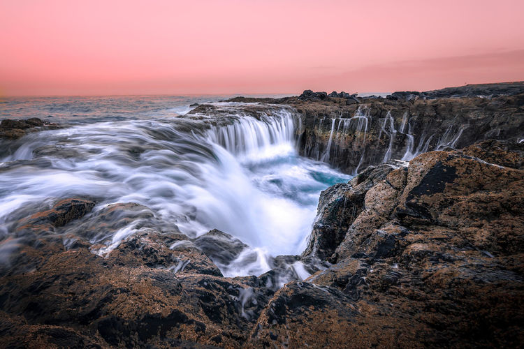 Water Longexposure Pink Color Sunset Magic Rocks GranCanaria Scenics - Nature Motion Beauty In Nature Rock Sky Sea Rock - Object Solid Long Exposure No People Waterfall Rock Formation Blurred Motion Nature Non-urban Scene Environment Idyllic Flowing Water Power In Nature Outdoors Flowing