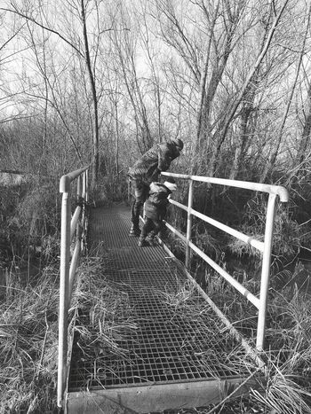 where are the Fish? Daddys Winter Woods Wood Donau Vscogood VSCO Son Daddy And Son #trees #Nature  #Black&White Little Boy Momys Boy❤ Walk Walking Around Straubing Railing Day Steps And Staircases Outdoors Real People
