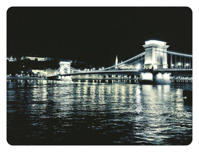 Bridge Night Lights Panoramic Danube