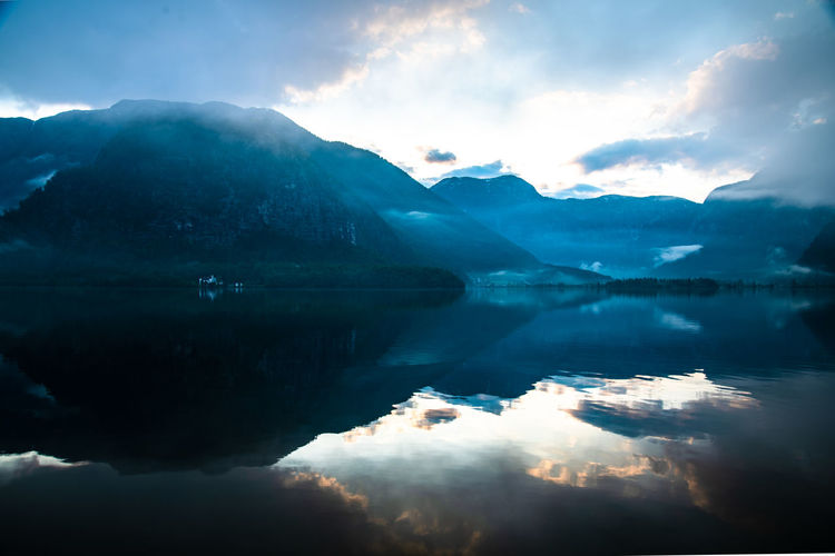 Water Sky Cloud - Sky Reflection Beauty In Nature Scenics - Nature Tranquility Mountain Tranquil Scene Waterfront Nature Lake Idyllic Non-urban Scene Mountain Range No People Day Outdoors