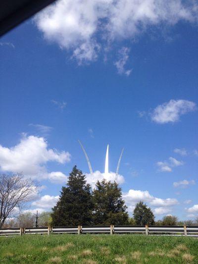 Driving By Air Force Memorial Blue Skies + Clouds