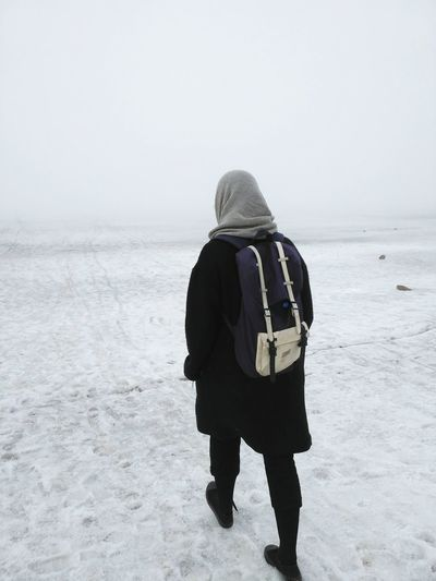 Winter Cold Temperature One Person Walking Sky Day People Landscape Foggy Warm Light