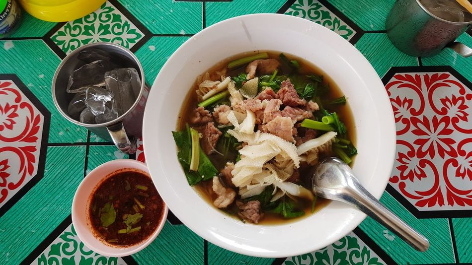 Noodle meat soup, top view Food And Drink Bowl Healthy Eating Indoors  Food High Angle View Ready-to-eat Plate Vegetable Savory Food Olive Oil Freshness No People Day Close-up Legume Family Asian Foods Jaew Hon Meat Soup Top View