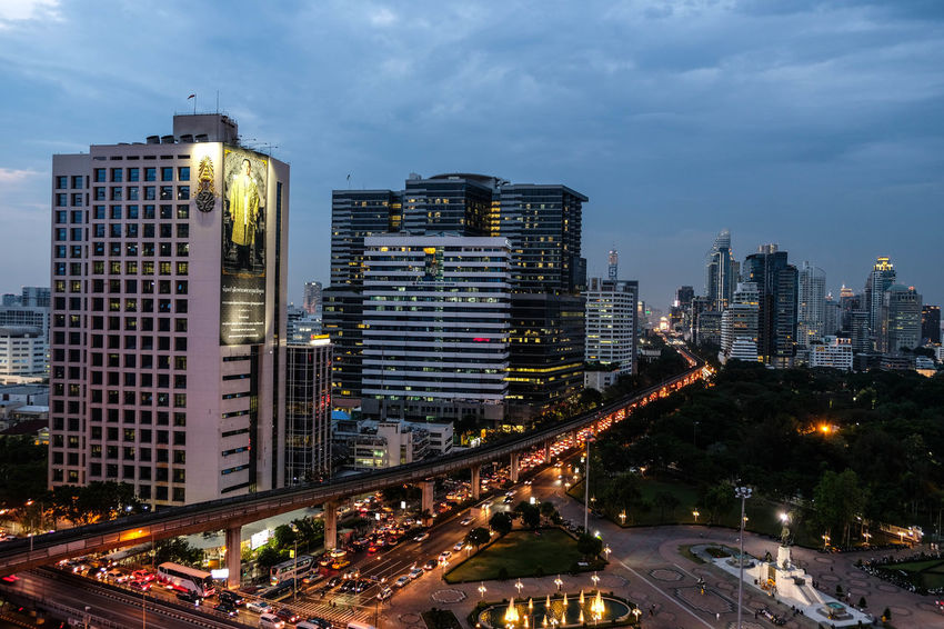 Bangkok, Thailand - April 28, 2017 : City view with many building in the evening and some parts of Lumpini park Bangkok Business Downtown Modern Nightphotography Thailand View Architecture Building Exterior Built Structure City City Life Cityscape Modern Night Night View Nightlife Outdoors Outside Road Skyscraper Street Tower Urban Urban Skyline