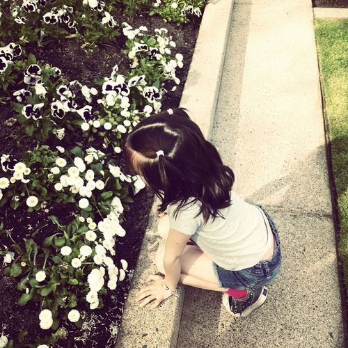 Directly above shot of girl smelling daisy flowers in park