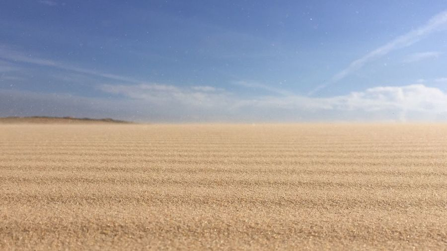 Surface level view of sand against sky