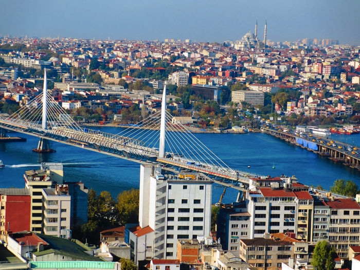 High Angle View Of Golden Horn Metro Bridge And Residential District