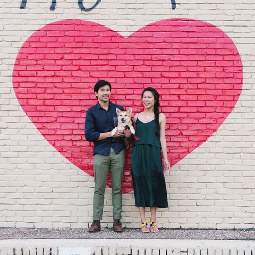 Valentine's Day adventure with our dog. Family Walk Fur Babies Family Love  Love Spring Has Arrived Spring Time February Spring Is Coming  Hug Dog Lover Shiba Inu Austin Texas Austin, TX Red Heart Heart Shape Valentine Day Valentine's Day  Family Of Three Family With One Child Looking At Camera Full Length Togetherness Brick Wall Portrait Smiling Standing Bonding Happiness Love Friendship
