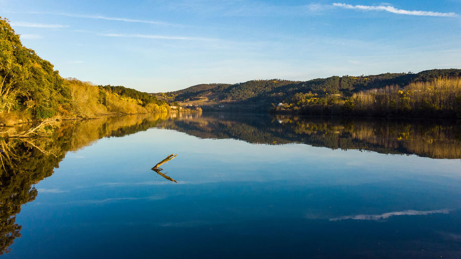 Getting the most of the day Reflection Sky Water Tranquility Tranquil Scene Lake Nature No People Scenics - Nature Beauty In Nature Ourense Galicia Laias River Miño Shotondji Dronephotography Cloud - Sky Idyllic Outdoors Tree Day Plant Springtime