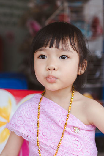 Bangs Casual Clothing Child Childhood Close-up Cute Females Focus On Foreground Front View Girls Hairstyle Headshot Indoors  Innocence Lifestyles Looking At Camera One Person Portrait Real People Women