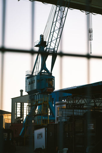 Built Structure Architecture No People Industry Building Exterior Machinery Day Outdoors Sky Crane - Construction Machinery Metal Low Angle View Transportation Cargo Container Clear Sky Commercial Dock Container Focus On Foreground