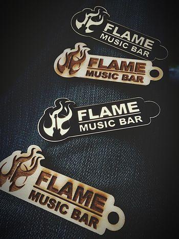Flame Musicbar flame Music bar Keychain Keychain Venue Lieblingsteil Favoritebar Merche Merchandise Bar Wood Lasercut