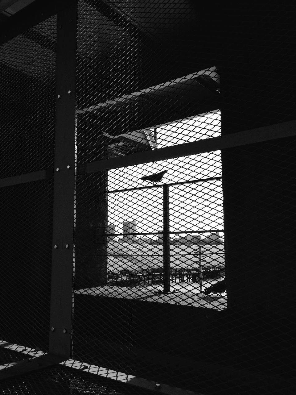 indoors, window, architecture, built structure, pattern, glass - material, safety, shadow, protection, sunlight, transparent, no people, metal, building exterior, day, security, geometric shape, design, closed, fence