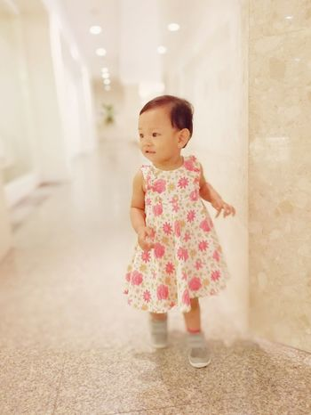 EyeEm Selects Full Length Babies Only One Person Indoors  Pink Color Standing Portrait Cute Day Childhood