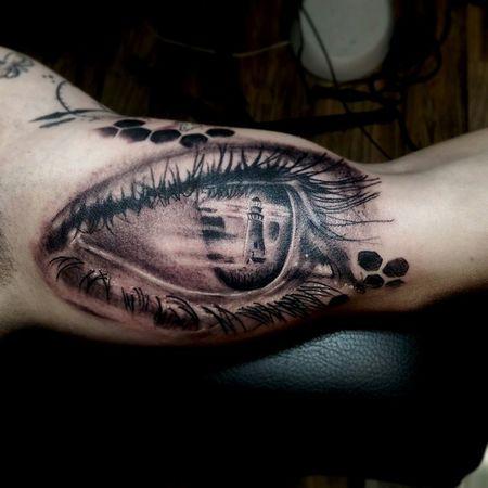 Lighthouse Eye Tattoo Eyetattoo Mrttattoo Tattooartist  Blackandgrey Check This Out Torstenmatthes Fullcustomtattoo