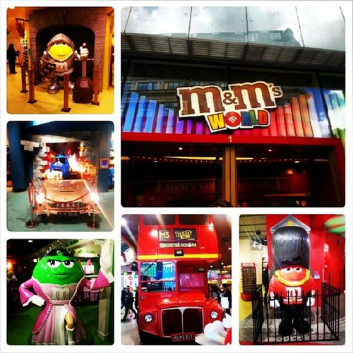 M &m's MandMs World Yellow blue green red doubledeckerbus london leicester square