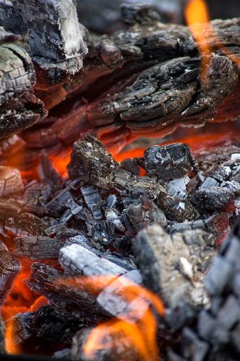 Full frame shot of bonfire on barbecue