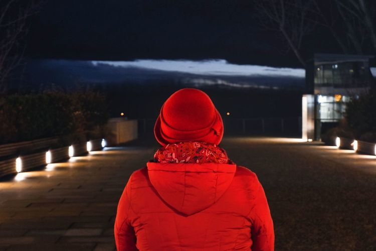 Rear view of person standing on footpath at night