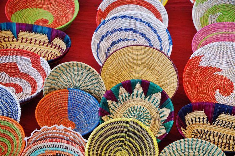 Full frame shot of multi colored baskets for sale at market
