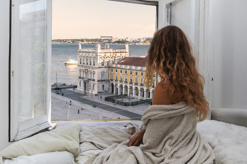 Alone Beautiful Bed City Life Portugal Travel Traveling Wandering Wanderlust Balcony Colorful Hotel Landscape Luxury Tourism Toursits Travel Destinations Women
