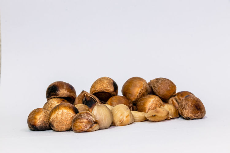 Pictures of folk chestnuts and white background