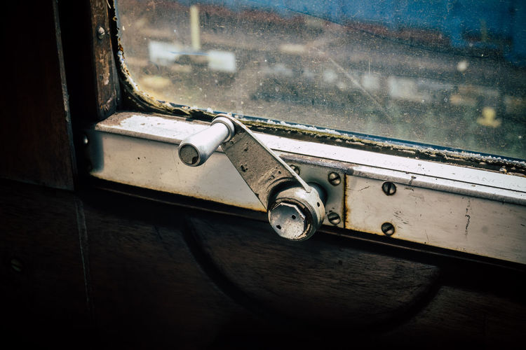Close-up of old train window