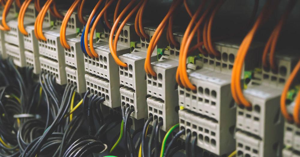 Close-up of network server
