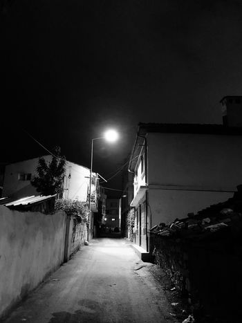 Black Night Street The Way Forward Architecture Building Exterior Illuminated Street Light Sky Nature Lighting Equipment No People Direction Built Structure Building Transportation City Road Residential District Empty Clear Sky