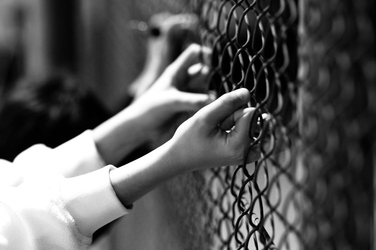 Close-up of woman hand on metal fence