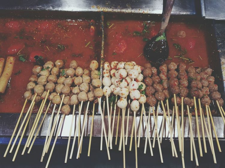 Spicy meat balls Thai Food Thailand Food Foodie Street Food Market Brochettes Meat Balls Fish Balls Sauce Spicy Food Spicy Sticks Food View From Above Above View