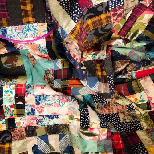 Full frame shot of colorful quilt in store
