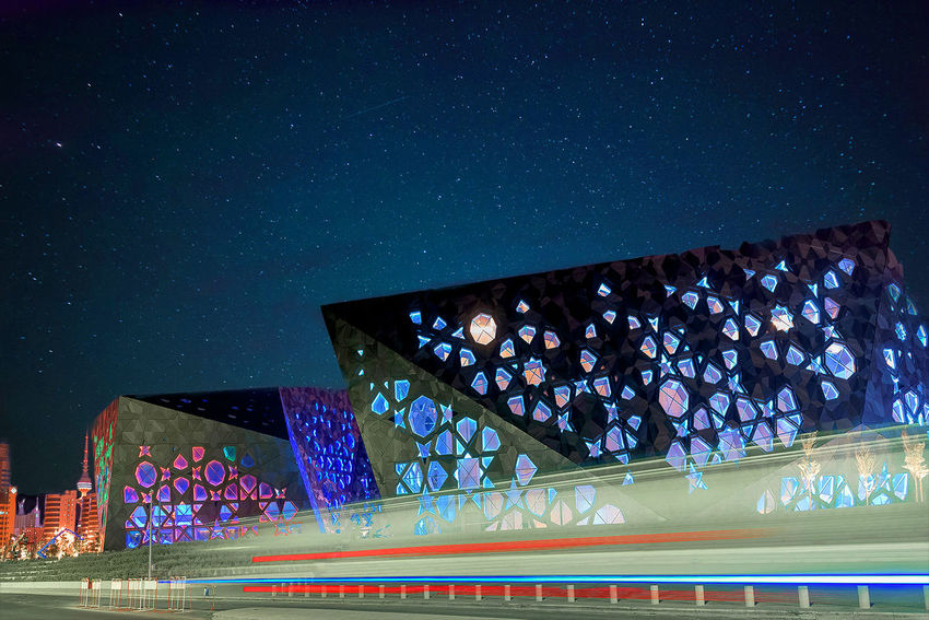 Kuwait Architecture Astronomy Beauty In Nature Blue Building Building Exterior Built Structure City Connection Illuminated Jaber Alahmed Culter Center Nature Night No People Operahouse Outdoors Science Sky Space Star Star - Space Technology