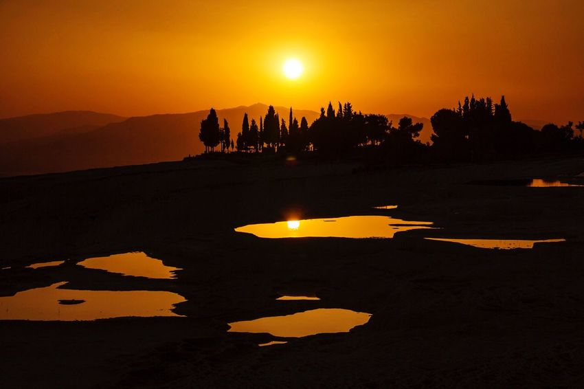 Sun Sunset Turkey Türkiye Denizli Pamukkale Pamukkale/Turkey Traveling Travel Travel Photography Photography Photooftheday First Eyeem Photo Sunset_collection Sunset Silhouettes Sunsets Travertines Black Reflection Water Reflections Canon Canonphotography Canon60d MyPhotography