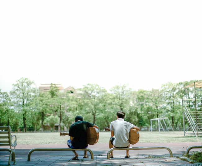 Day Film Photography Guitar Men Music Outdoors PENTAX67 People Senior Adult Two People Young Adult EyeEmNewHere