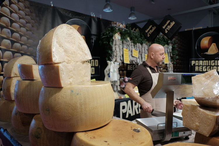 Italian Cheese One Person Real People Standing Men Indoors  Adult Food And Drink Occupation Cheese! Fujifilm_xseries
