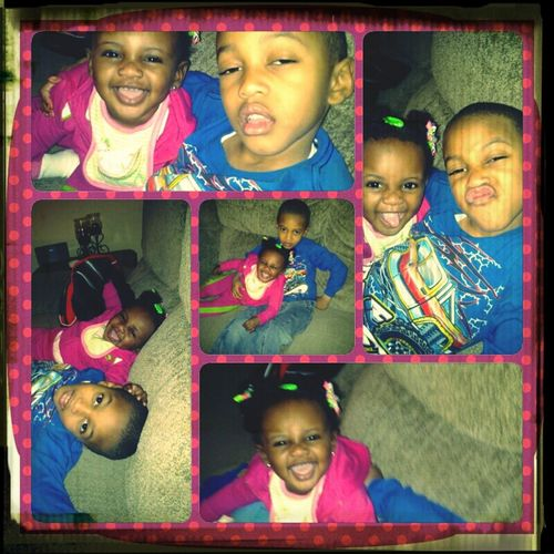 My baby and nephew having a good time ! I Love these two they are so funny !