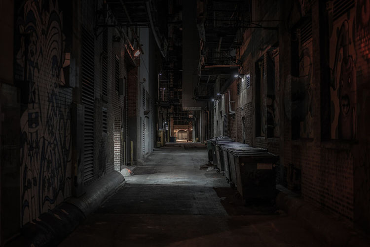Alley in city at night