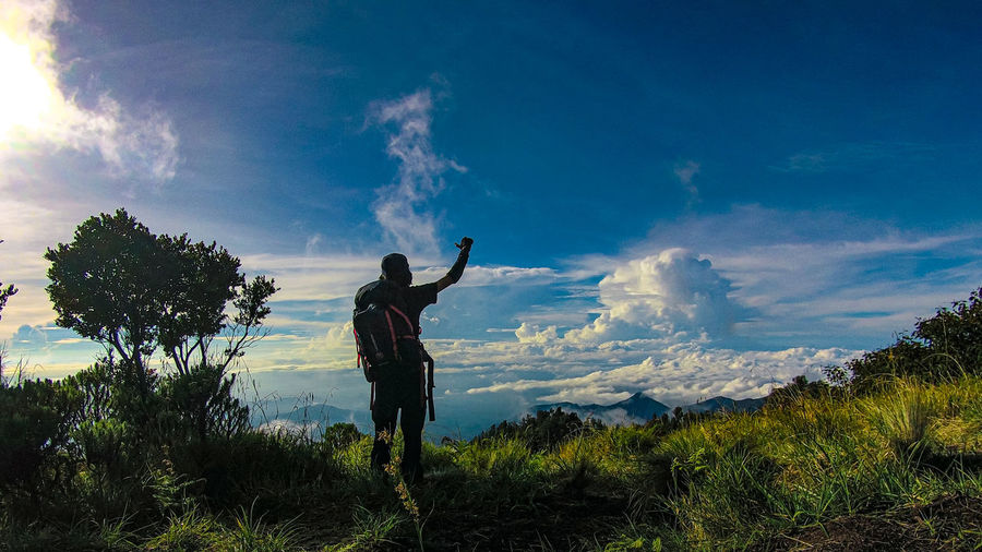 Man standing by plants against sky
