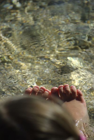 Bare Feet Bare Feet In The Water Barefoot Beach Sea Child High Angle View Human Body Part Human Foot Human Leg Kids Legs Lifestyles Low Section Real People Relaxation Selective Focus Water Water Texture Done That.