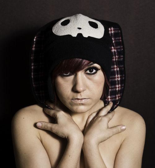 Adult Beautiful Woman Black Background Eyeliner Funny Hat Headshot Nüde Art. One Person Portrait Strobist Studio Shot Toplesswoman Young Adult