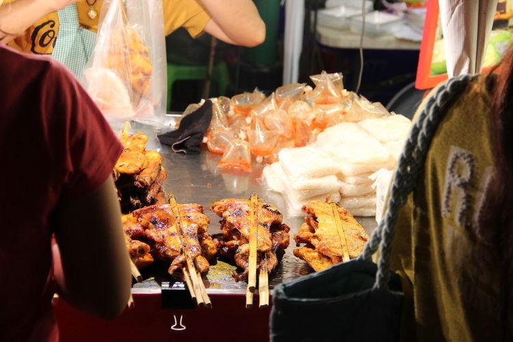 Marinated steaks at street food