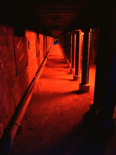 Architecture The Way Forward Red Direction Built Structure Indoors  No People Building Lighting Equipment Corridor Empty